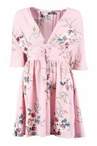 Womens Lace Up Front Angel Sleeve Skater Dress - Pink - 16, Pink