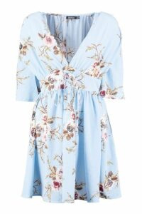 Womens Lace Up Front Angel Sleeve Skater Dress - blue - 14, Blue