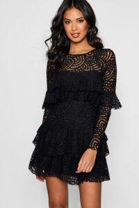 Womens Boutique Lace Ruffle Skater Dress - black - 16, Black