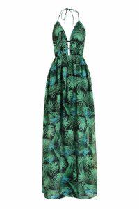 Womens Plunge Front Palm Print Maxi Dress - Green - 16, Green