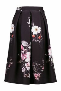 Womens Dark Floral Box Pleat Midi Skirt - black - 8, Black