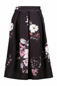 Womens Dark Floral Box Pleat Midi Skirt - black - 8, Black