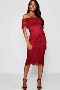 Womens Boutique Lace Off Shoulder Midi Dress - red - 12, Red