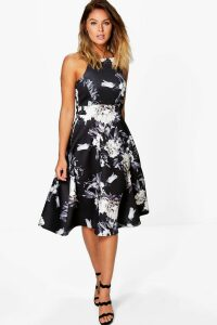 Womens Floral Strappy Midi Skater Dress - black - 16, Black