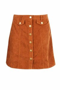 Womens Button Front Chunky Cord Mini Skirt - brown - 14, Brown