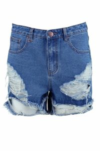 Womens High Rise Distressed Denim Mom Shorts - blue - 12, Blue