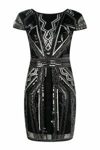 Womens Boutique Sequin Cap Sleeve Shift Dress - black - 16, Black