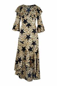 Womens Star Leopard Print Ruffle Hem Maxi Dress - black - 10, Black