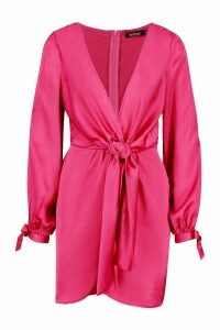Womens Satin Split Sleeve Twist Front Dress - pink - 6, Pink