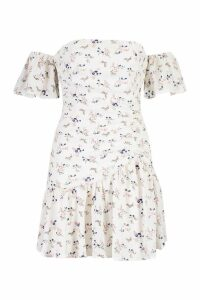 Womens Floral Off The Shoulder Ruched Mini Dress - white - 8, White