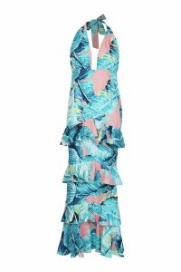 Womens Halter Neck Palm Print Ruffle Maxi Dress - red - 14, Red