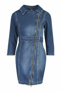 Womens Zip Detail Acid Belted Denim Dress - blue - 12, Blue
