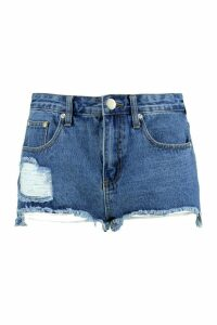 Womens Cut Out Hem Fray Denim Mom Shorts - blue - 14, Blue