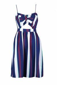 Womens Petite Tie Front Stripe Woven Skater Dress - navy - 8, Navy