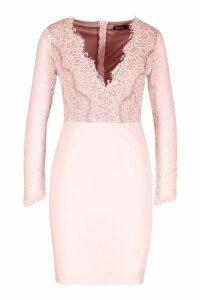 Womens Eyelash Lace Bodycon Dress - Beige - M, Beige