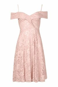 Womens Lace Cold Shoulder Midi Skater Dress - pink - 12, Pink
