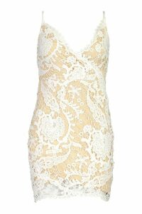 Womens Lace Wrap Over Bodycon Dress - white - 10, White
