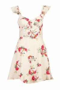 Womens Floral Sweetheart Ruffle Hem Shift Dress - beige - 10, Beige