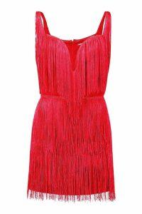 Womens Tassel Mini Dress - red - 6, Red