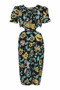 Womens Puff Sleeve Floral Midi Dress - black - 12, Black