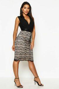 Womens Boutique 2 in 1 Bodycon Midi Dress - black - 6, Black