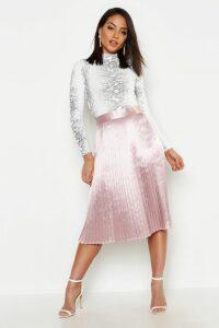 Womens Satin Pleated Midi Skirt - Beige - 14, Beige