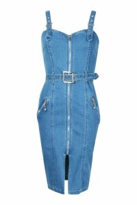 Womens Zip Through Belted Midi Denim Dress - blue - 6, Blue