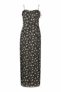 Womens Floral Print Ruffle Detail Maxi Dress - black - 12, Black