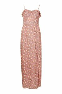 Womens Floral Print Ruffle Detail Maxi Dress - pink - 8, Pink