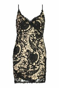 Womens Lace Wrap Over Bodycon Dress - black - 6, Black