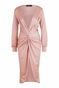 Womens Twist Front Plunge Slinky Midi Dress - pink - 14, Pink