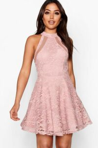 Womens Lace High Neck Skater Dress - pink - 10, Pink