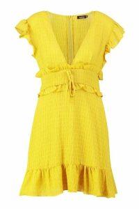 Womens Crinkle Fabric Ruffle Detail Plunge Shift Dress - yellow - 8, Yellow