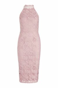 Womens Premium Lace High Neck Midi Dress - Pink - 10, Pink