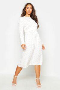 Womens Wrapped Front Polka Dot Midaxi Dress - white - 16, White