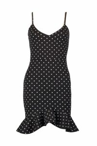 Womens Petite Spot Ponte Frill Hem Dress - black - 14, Black