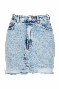 Womens Acid Wash Denim Skirt - blue - 14, Blue