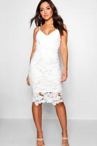 Womens Boutique Crochet Lace Strappy Midi Dress - white - 16, White