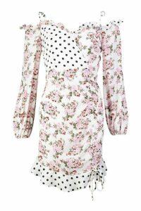 Womens Mixed Print Ruffle Detail Mini Dress - white - 10, White