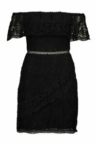 Womens Lace Off The Shoulder Wrap Bodycon Dress - black - 8, Black