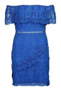 Womens Lace Off The Shoulder Wrap Bodycon Dress - blue - 8, Blue