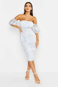 Womens Lace Off The Shoulder Belted Midi Dress - blue - 6, Blue