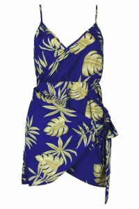 Womens Petite Palm Print Strappy Wrap Shift Dress - blue - 8, Blue