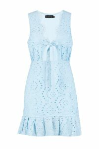 Womens Broderie Anglais Ruffle Hem Mini Dress - blue - 8, Blue