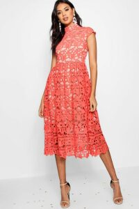 Womens Boutique Lace High Neck Skater Dress - red - 16, Red