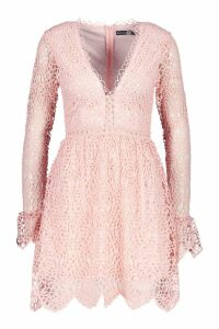 Womens Premium Lace Flared Sleeve Skater Dress - pink - 10, Pink