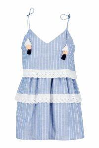Womens Tassle Trim Stripe Chambray Smock Dress - blue - 10, Blue