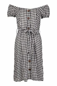 Womens Gingham Midi Button Front Shift Dress - XS, Gingham