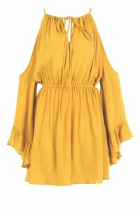 Womens Cold Shoulder Angel Sleeve Shift Dress - yellow - 8, Yellow