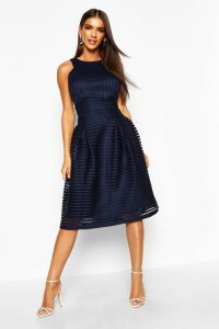 Womens Boutique Panelled Full Skirt Skater Dress - navy - 8, Navy